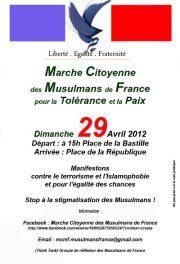 """""""Chroniques pour la paix"""" avec Abdel Ghazali : Marche citoyenne des musulmans de France (27/04/12) – Enregistrement"""
