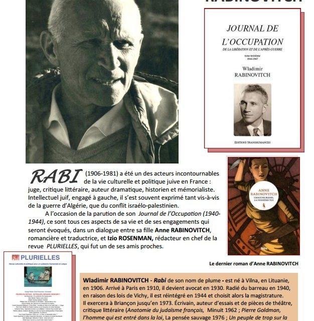 """CBL Grenoble : """"Présence de Rabi, hier et aujourd'hui"""", le 30 janvier à la Maison de l'Avocat"""
