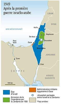 Ligne verte : les frontières issues des accords d'armistice de (1948)