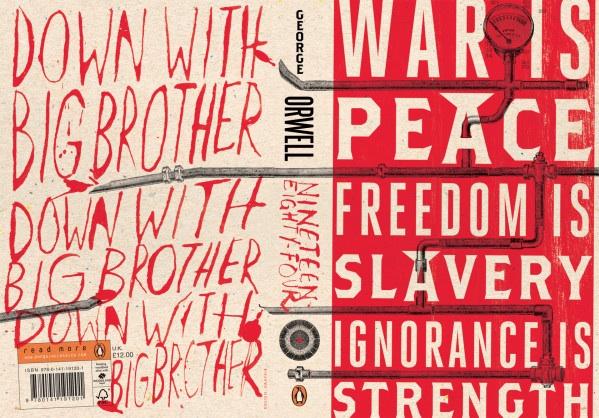 La &#8220;novlangue&#8221; s'affiche en couverture de <em>Nineteen Eighty-Four</em>&#8221; align=&#8221;right&#8221; /></p> <h2>NOTES</h2> <p>[1] Le terme utilisé par Shalev est &#8220;<em>dystopian</em>&#8221;. Un terme parfois traduit littéralement par &#8220;dystopique&#8221; &#8211; construit comme en anglais au pôle inverse de l&#8217;utopie. Pour le <em>Larousse</em>, la &#8220;dystopie&#8221; décrit «au moyen d&#8217;une fiction», un «univers déshumanisé et totalitaire, dans lequel les rapports sociaux sont dominés par la technologie et la science. (<em>Le Meilleur des mondes</em>, de Aldous Huxley, est un exemple de contre-utopie.)»</p> <p>[2] En hébreu, &#8220;<em>Mivtsa Tsouk eytan</em> &#8211; Action Roc inébranlable&#8221;.</p> <p>[3] Pour en savoir plus sur les propos de Jon Stewart, voir:<br /> [-> http://bigbrowser.blog.lemonde.fr/2014/07/17/grincant-lasymetrie-du-conflit-israelo-palestinien-caricaturee-par-lhumoriste-jon-stewart/]</p> <p>[4] <em>Animal Farm</em>, satire anti-stalinienne publiée en 1945 et la première de ses &#339;uvres de fiction (1947 pour la traduction française, <em>La Ferme des animaux</em>, Gallimard rééd. Poche/Folio). Orwell s&#8217;est battu en Espagne, d&#8217;où il a ramené une solide aversion pour le totalitarisme et un remarquable récit, <em>Homage to Catalonia</em> (1938. Réed. 1989, Penguin twentieth century classics).</p> <p>[5] Orwell publiait en 1949, un an avant sa mort à moins de cinquante ans, l&#8217;incontournable <em>Nineteen Eighty-Four</em> (<em>1984</em>, lui aussi en poche) où il dépeint dans une apparente science-fiction une société encadrée par un Big Brother omniprésent sur l&#8217;écran interactif qui diffuse et ne laisse pratiquer que la &#8220;novlangue&#8221; &#8211; le nouveau langage politiquement correct. Seule la date choisie était légèrement en avance&#8230;</p> <p>[6] &#8220;Notes on Nationalism&#8221;, article paru dans <em>Polemic &#8211; A Magazine of Philosophy, Psychology &#038; Aesthetics