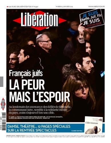 &#8220;Français juifs, la peur mais l'espoir&#8221; (Une de <em>Libé</em> le 13/1/2015)&#8221; align=&#8221;center&#8221; /></p>                      </div>                      <div class=