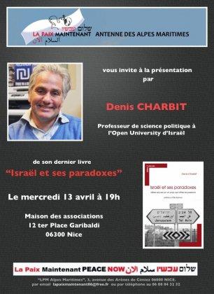 """LPM Alpes-Maritimes: Denis Charbit présente son dernier livre, """"Les Paradoxes d'Israël"""", le 13 avril à 19h. Nice, Maison des Associations."""