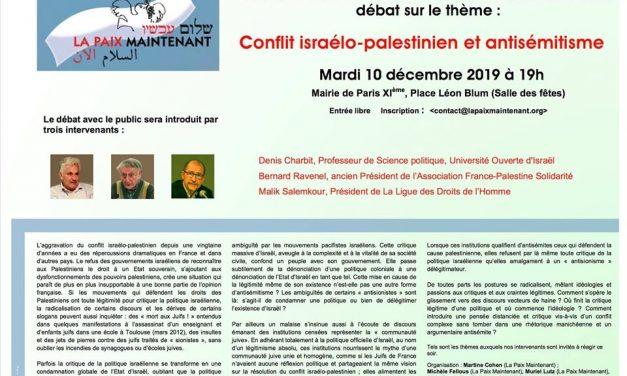 """RENCONTRE-DÉBAT """"Conflit israélo-palestinien et antisémitisme"""" – Mardi 10 Décembre à 19h à la Mairie du 11ème"""