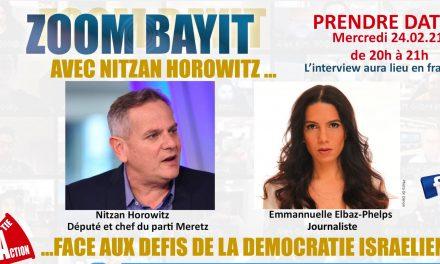 MERCREDI 24  FEVRIER à 19H (à Paris) … ZOOM avec NITZAN HOROWITZ